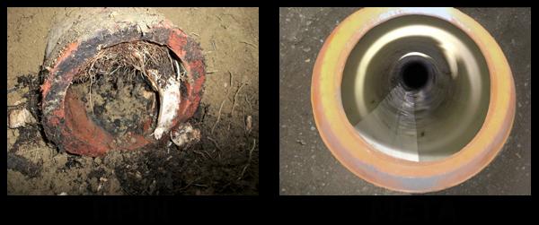 Καθαρισμός αποχέτευσης από ρίζες πριν και μετά στα Βριλήσσια